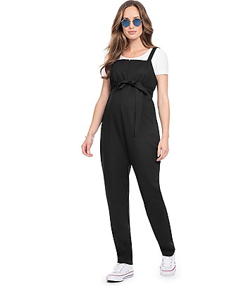 Seraphine Dune, Jersey Sleeveless Maternity and Nursing Dungarees - Black Dungarees