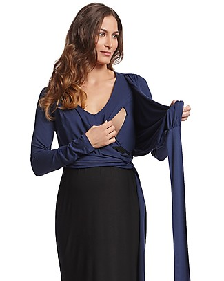 Seraphine Elsa, Wrap Around Maternity and Nursing Dress - Navy/Black Dresses