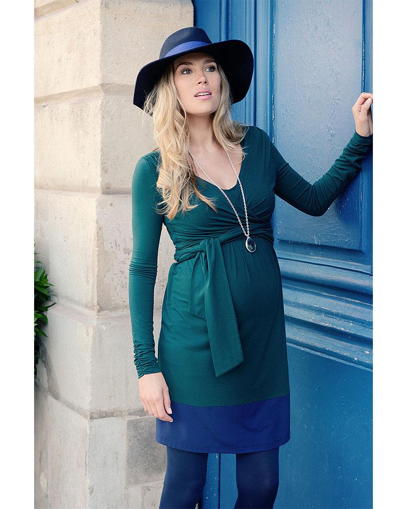 Seraphine Enja Maternity Nursing Wrap Dress Forest Green Navy Blue Woman