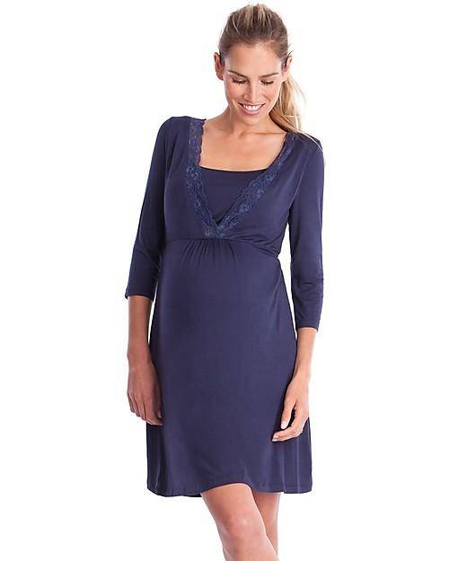 Seraphine Jane Maternity and Nursing Lace Trim Nighti, Navy Robes