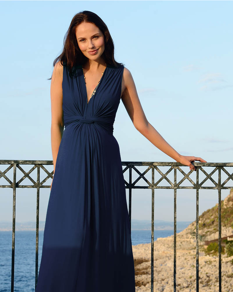 Seraphine Jo - Knot Front Maternity Maxi-Dress Blue Dresses 72110861114