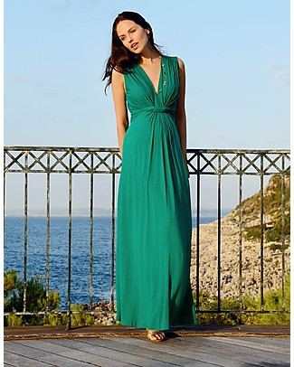 Seraphine Jo - Knot Front Maternity Maxi-Dress Emeral Dresses