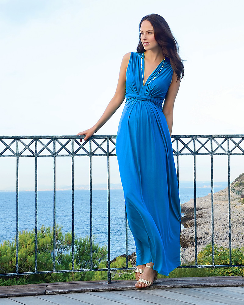 Seraphine Jo - Knot Front Maternity Maxi - Dress Seaside Turquoise woman