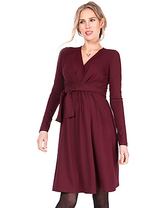 Seraphine Johana Wrap Detail Pregnancy and Nursing Winter Dress, Burgundy Dresses