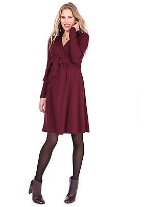Seraphine Johana Wrap Detail Pregnancy and Nursing Winter Dress, Burgundy Dresses