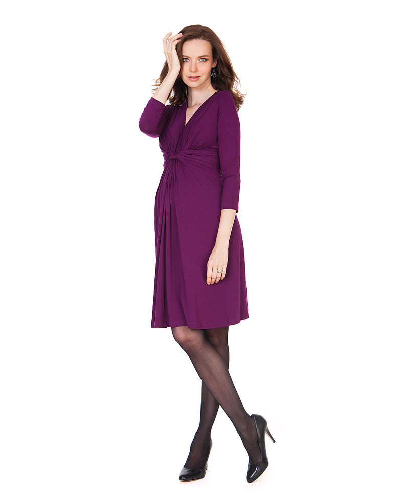 Seraphine Jolene Knot Front Maternity & Nursing Dress with ¾ sleeves ...