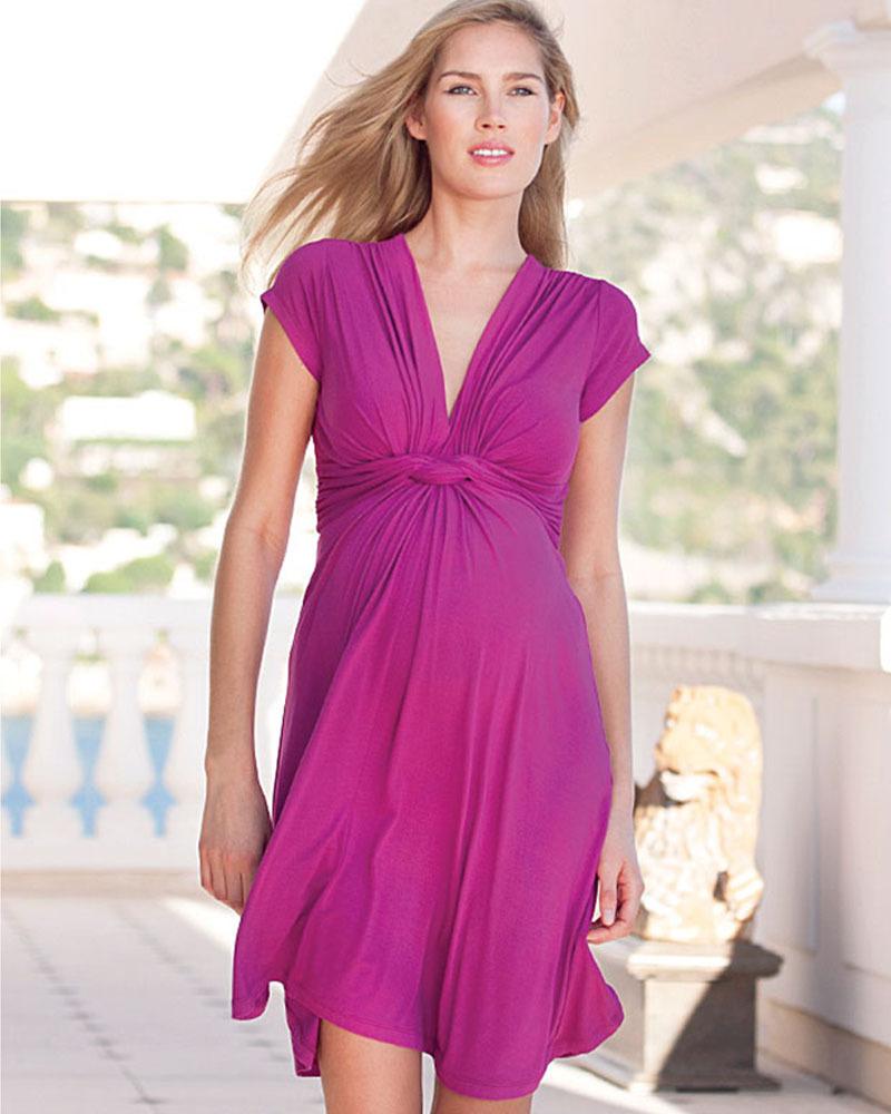 Seraphine Jolene Knot front Maternity Dress - Fuschia (chosen by ...