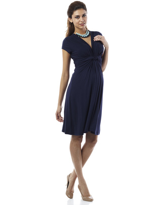Seraphine Jolene - Knot front Maternity Dress - Navy Blue (elegant and versatile!) Dresses
