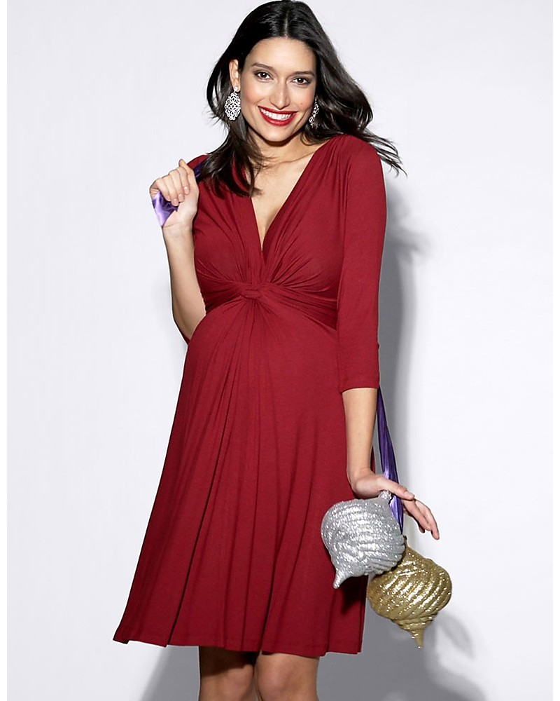 9dc0fe7cf69e0 Seraphine Jolene Knot Front Maternity Dress with ¾ sleeves - Claret Red  Dresses