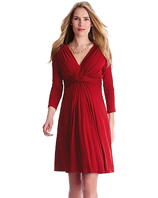Seraphine Jolene Knot Front Maternity Dress with ¾ sleeves - Claret Red Dresses