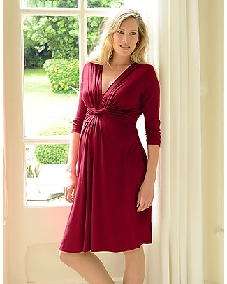 Seraphine Jolene Knot Front Maternity Dress with ¾ sleeves - Claret Red null