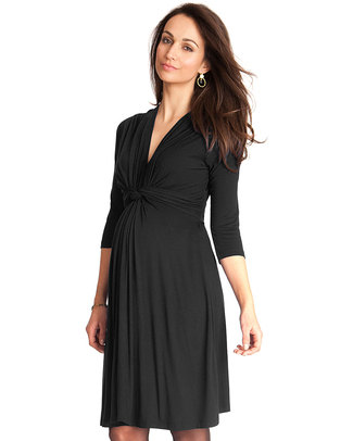Seraphine Jolene maternity dress with knotted front & ¾ sleeves - Black null