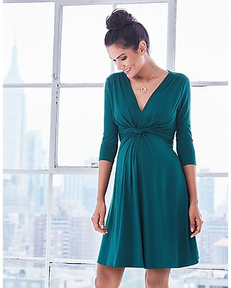 Seraphine Jolene maternity dress with knotted front & ¾ sleeves - Dark Green null