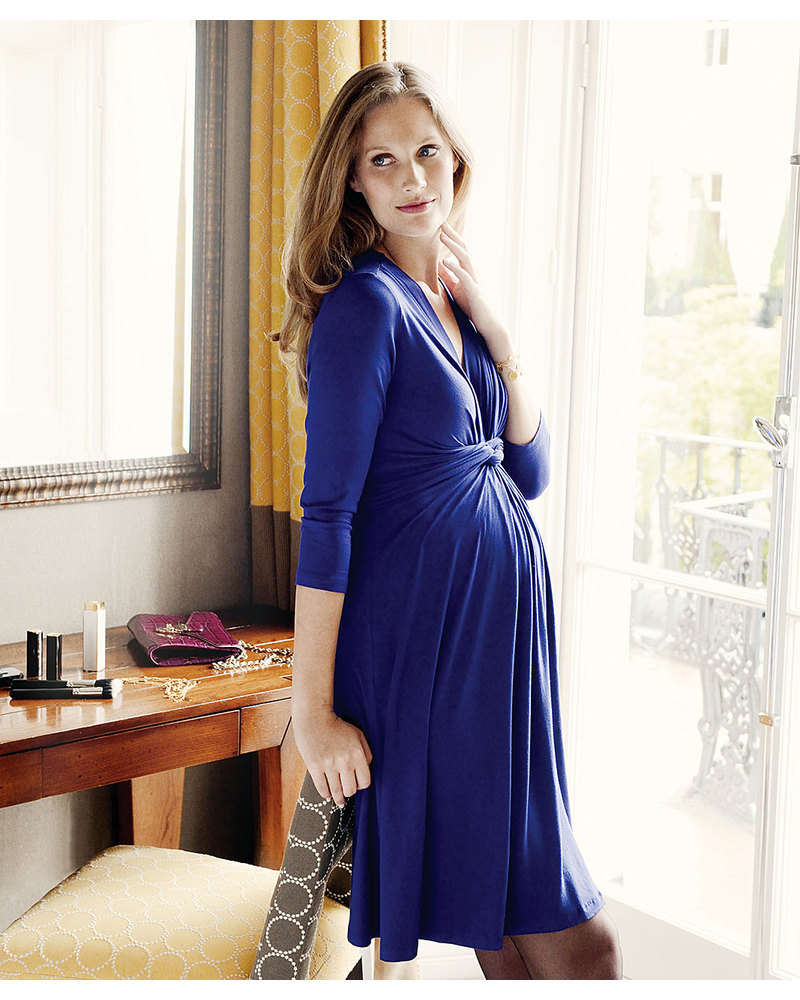 4b96b6b6c7894 Seraphine Jolene maternity dress with knotted front & ¾ sleeves - Royal  Blue Dresses
