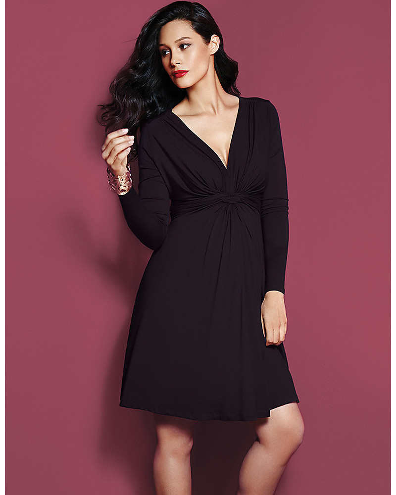 ad3425b3367a Seraphine Jolene maternity dress with knotted front   long sleeves - Black  Dresses