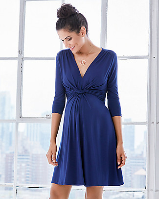 Seraphine Jolene maternity dress with knotted front & ¾ sleeves - Dark Blue Dresses