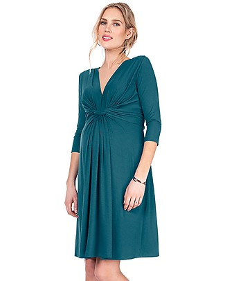 Seraphine Jolene maternity dress with knotted front & ¾ sleeves - Dark Green Dresses
