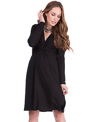 Seraphine Jolene maternity dress with knotted front & long sleeves - Black Dresses