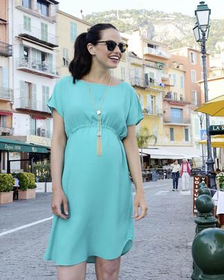 Seraphine Kadin - Drawstring Detail Maternity Dress - Turquoise Dresses