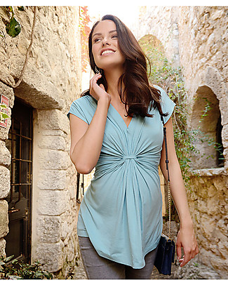 Seraphine Liza, Knot Front Maternity and Nursing Top, Mint Evening Tops