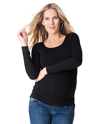 Seraphine Long sleeved Maternity & Nursing Bamboo Top - Black Long Sleeves Tops