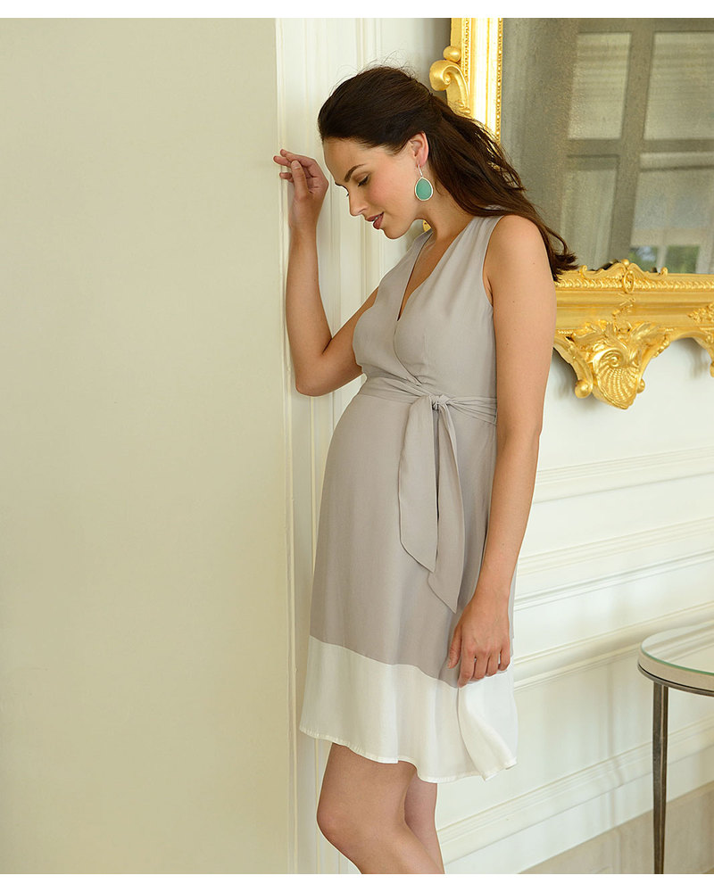 Seraphine Marilena Belted A-Line Maternity   Nursing Dress - Taupe   White  - 100 41d6102832f