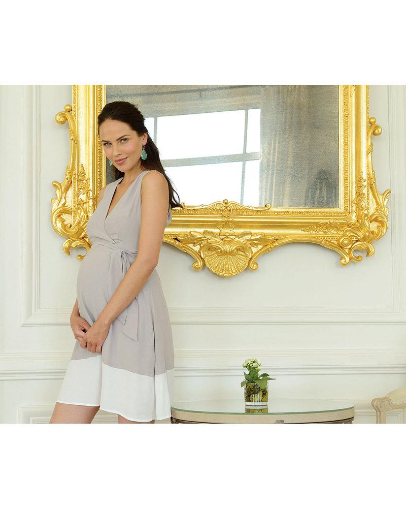 c642c8d9cbd Seraphine Marilena Belted A-Line Maternity / Nursing Dress - Taupe & White  - 100
