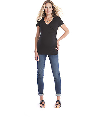 Seraphine Marney, Maternity and Nursing Mock Wrap Top, Black  Evening Tops