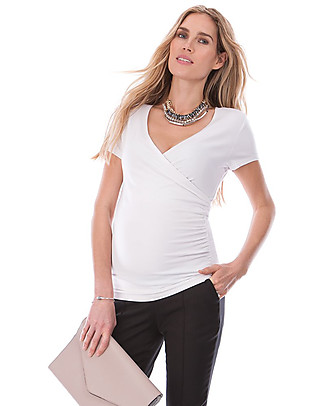 Seraphine Marney, Maternity and Nursing Mock Wrap Top, Off White  Evening Tops