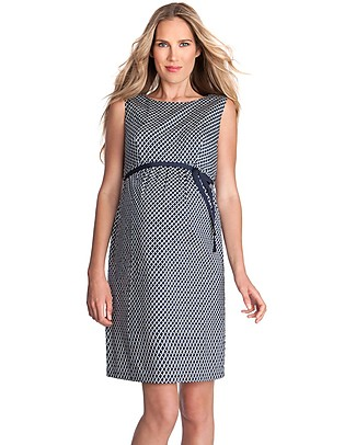 Seraphine Martina, Stretch Sateen Maternity Cocktail Dress - Navy Tile Dresses