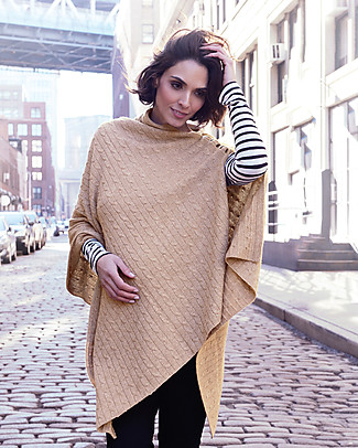 Seraphine Maternity and Nursing Caleb Cable Knit Shawl - Camel Scarves And Shawls