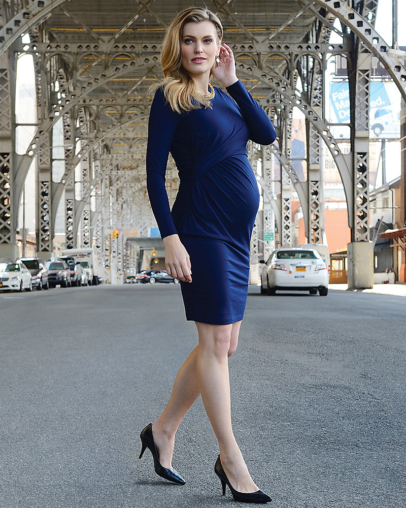 a5adfce88a848 Seraphine Maternity and Nursing Kiley Gather Dress - Navy Dresses