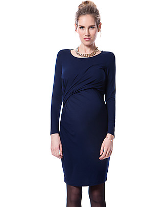 Seraphine Maternity and Nursing Kiley Gather Dress - Navy Dresses