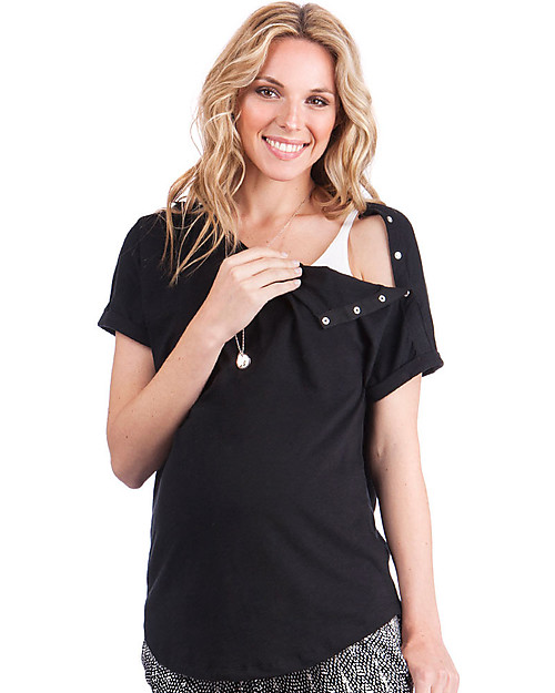 d2f9dbef9271c6 Seraphine Maternity and Nursing Rocco Top, Black - 100% Cotton T-Shirts And
