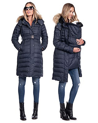Seraphine Maternity + Baby Carrying Down Coat 3 in 1 Elle, Navy Coats