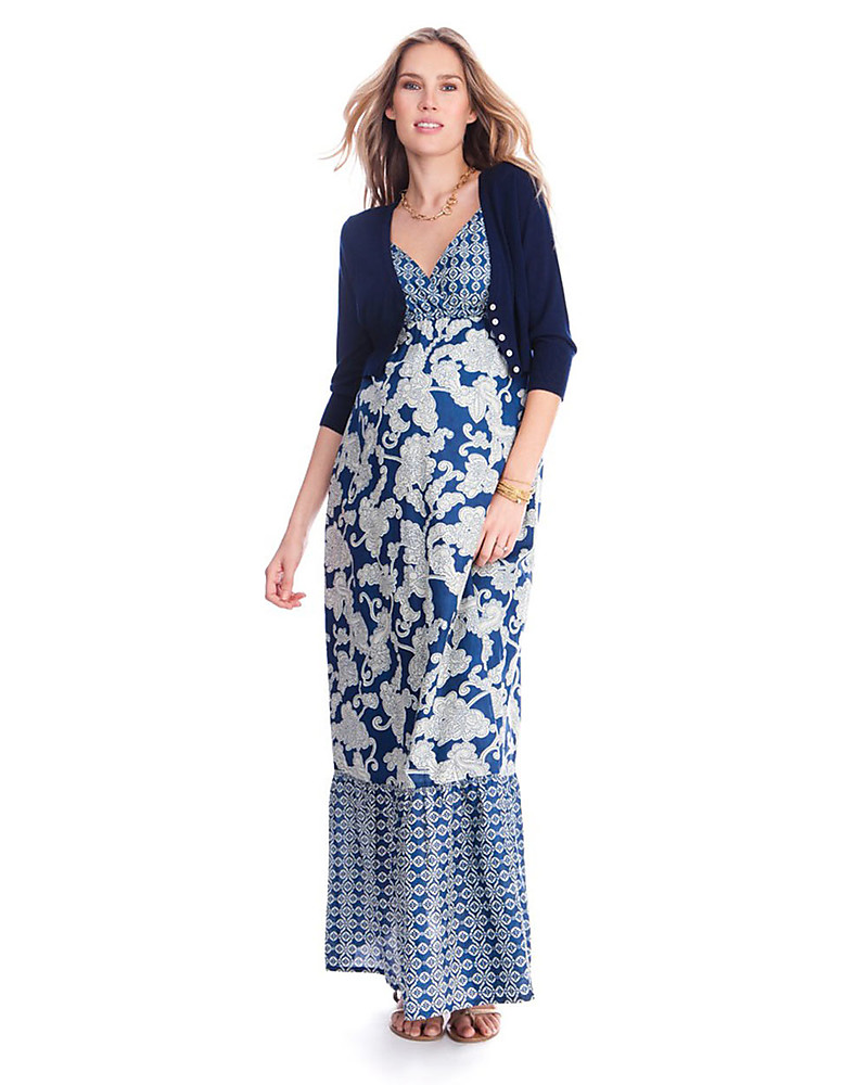 b47b3d649f4a Seraphine Matilda - Blue Floral Print Maternity Maxi Dress - 100% Cotton  Dresses