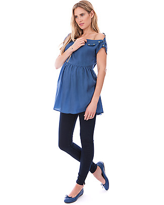 Seraphine May, Frill Hem Nursing Top - Blue Evening Tops