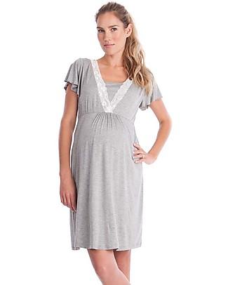 Seraphine Meadow, Lace Trim Maternity & Nursing Nightie - Grey Marl Pyjamas