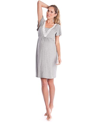 Seraphine Meadow, Lace Trim Maternity & Nursing Nightie - Grey Marl Pyjamas