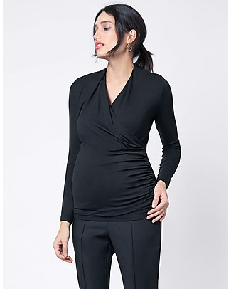 Seraphine Melanie Ruched Maternity & Nursing Cross Over Top - Black Evening Tops