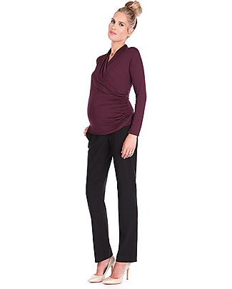 Seraphine Melanie Ruched Maternity & Nursing Cross Over Top - Burgundy Evening Tops