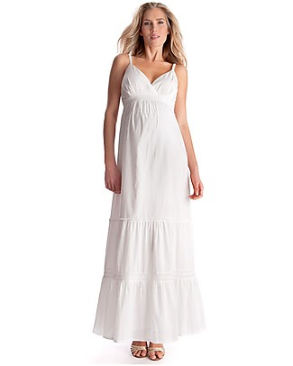Seraphine Melody, Woven Maternity Maxi Boho Dress, White - 100% cotton voile Dresses