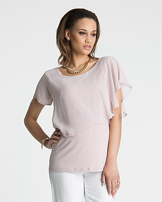 Seraphine Meredith, Chiffon Maternity and Nursing Top - Blush Pink Evening Tops