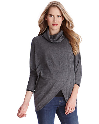 Seraphine Missy, Rollneck Crossover Maternity and Nursing Jumper, Midgrey - Bamboo fibre Cardigans