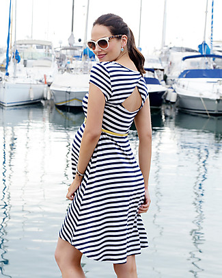 Seraphine Nicola, Cut Out Nautical Maternity Dress - White and Navy Dresses