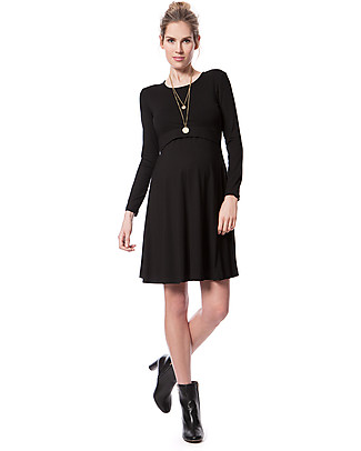 Seraphine Nursing and Maternity Dress Zelda in Soft Bamboo Fiber - Black Dresses