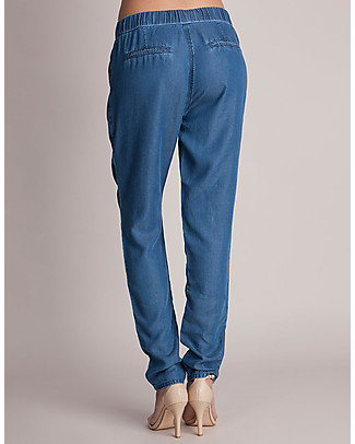 Seraphine Owen, Chambray Maternity Trousers, Blue - Soft and Versatile Trousers