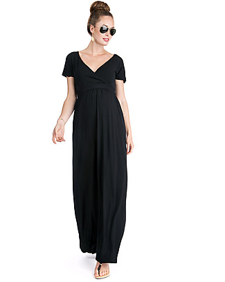 Seraphine Percy Tie Back Detail Maternity Maxi Dress - Black Dresses