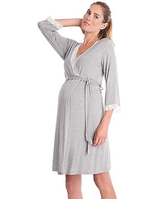 Seraphine Piper, Lace Trim Maternity & Nursing Dressing Gown - Grey Marl Nightdress