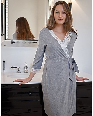 Seraphine Piper, Lace Trim Maternity & Nursing Dressing Gown - Soft Grey Marl Nightdress